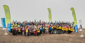 Volunteers at Fisherrow beach celebrate the end of the clean-up operation this morning