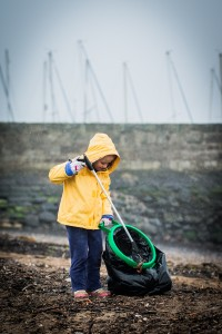 Aofe Sandilands, 4, from Bonnyrigg, helps pick-up litter at the M&S beach-clean Fisherrow