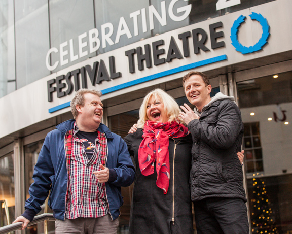 Comedians Raymond Mearns (left) and Kai Humphries (right) join Karen Koren, Artistic Director of The Gilded Balloon