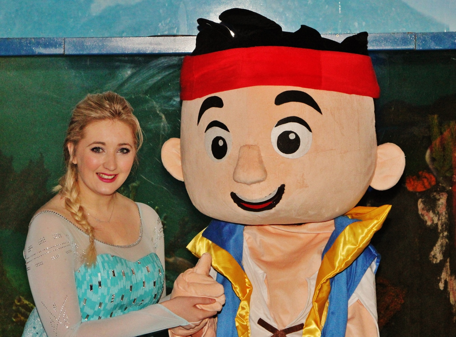 Pirate Jake with Princess Elsa at Deep Sea World edinburgh