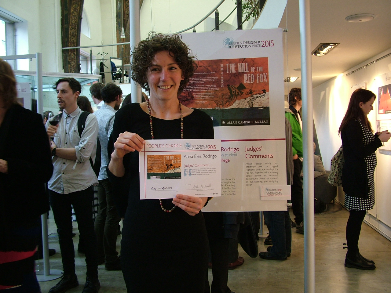 Edinburgh College Student Anna Elez Rodrigo celebrates her People's Choice award at Creative Exchange.