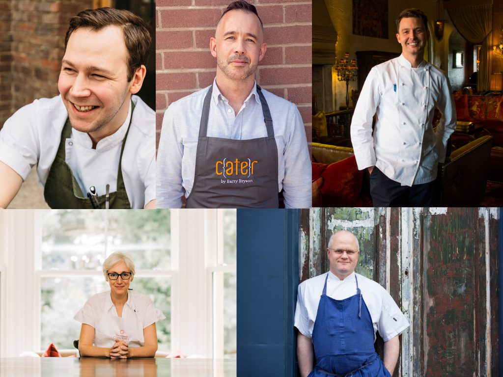 Chef Demo Line Up 1_2 (L-R Scott Smith, Barry Bryson, Derek Johnstone, Carina Contini, Jérôme Henry