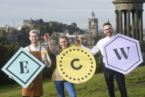 Pic - Greg Macvean - 03/10/19 - 07971 826 457 Edinburgh Cocktail Week launch at the top of Calton Hill with (left to right) Casey Anderson (Cask Smugglers), Tarah Lynch (Brewhemia) and Roberto Andrei (Apex Waterloo).  Edinburgh Cocktail Week takes place Monday 14th October to Sunday 20th October with the Cocktail Village returning to Festival Square, even bigger in size and experience with a new Enchanted Cocktail Forest themed extension, 19 pop-up bars, live music and a cosy covered street food area.  There is also Cocktail Domes on the rooftop garden of The Glasshouse Hotel where wristband-holders can enjoy views of Edinburgh's stunning skyline while sipping on a menu of £4 cocktails.